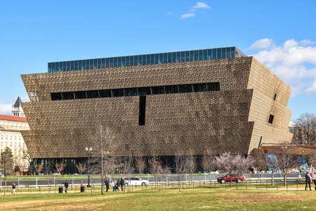 Washington DC, USA. Uitzicht op het Smithsonian National Museum van Afrikaans-Amerikaanse Geschiedenis en Cultuur (NMAAHC).