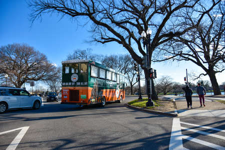 streetlife: Washington DC, USA. Street view and life of Washington city near Capitol, Washington Monument and Holocaust Memorial Museum.
