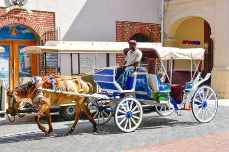 Santo Domingo, Dominican Republic. A man driving a horse-drawn carriage in the Colonial Zok.ne near the Columbus Par