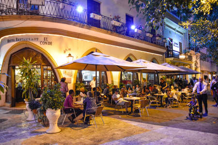 サントドミンゴ、ドミニカ共和国。コンデ通りの有名なホテル レストラン エル ・ コンデ。