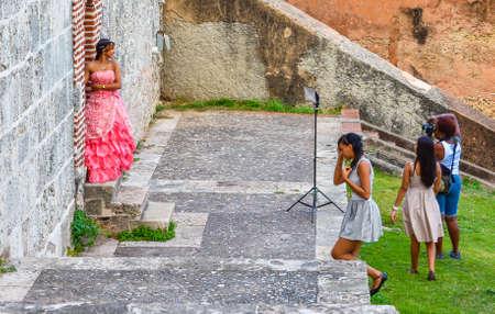 Santo Domingo, Dominican Republic. Model posing for a photo shoot in the Colonial Zone of Santo Domingo city.