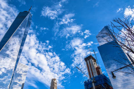 other world: New York, USA. View of One World Trade Center (Freedom Tower) and other building.