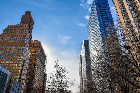 hudson: New York, USA Manhattan. View of buildings along the Hudson River Greenway.