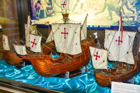 pinta: SANTO DOMINGO, DOMINICAN REPUBLIC - JANUARY 30, 2016: Ships reproduction of Nia, Pinta and Santa Maria. Museum inside the Columbus Lighthouse. Editorial