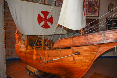 SANTO DOMINGO, DOMINICAN REPUBLIC - JANUARY 30, 2016: Columbus ships reproduction. Museum inside the Lighthouse of Christopher Columbus.