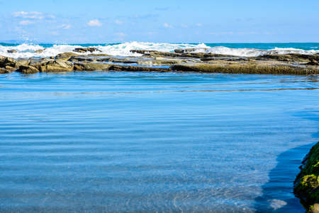 seascapes: Beautiful landscape, seascape, amazing nature background with rocks and blue water. Stock Photo