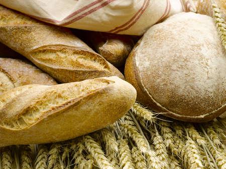 bread on golden wheat Stock Photo