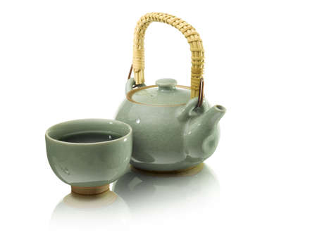 green drink powder: green tea in a green tea pot on whit background japanees style