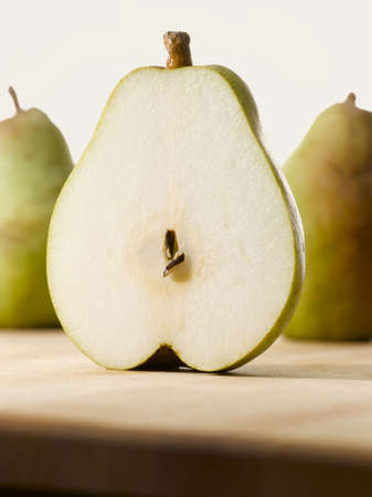 fresh sliced open pear