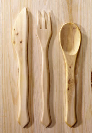 Cutlery on wood Stock Photo