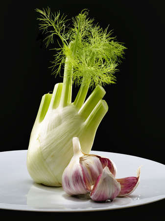 Fennel over black background withe purpel garlic