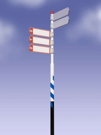 street sign against blue sky