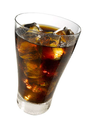 Refreshing glass of cola with ice cubes