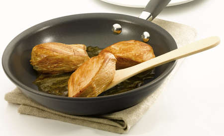 nonstick: Chicken an a non stick pan Stock Photo