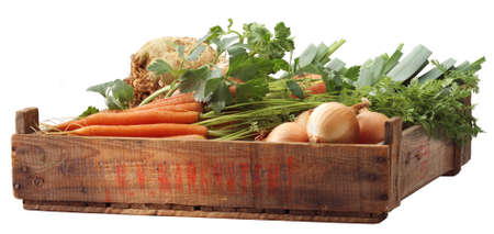 Crate of vegetables Stock Photo