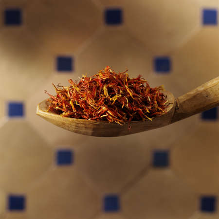 Spoon filled with saffron