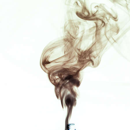 black smoke against a white background