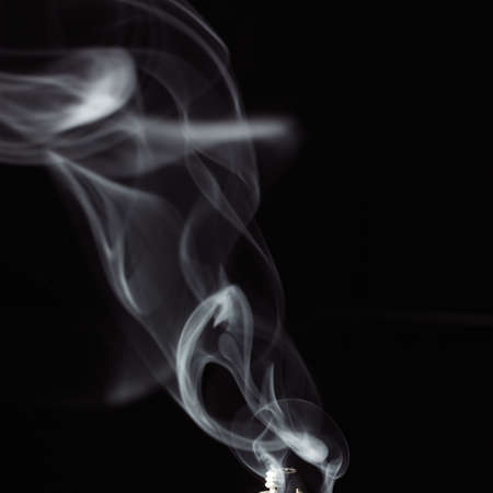 ashes: white smoke against a black background Stock Photo