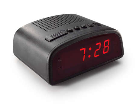 black digital alarm clock radio