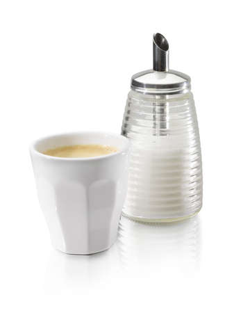 coffee and sugar dispenser on a white bacground