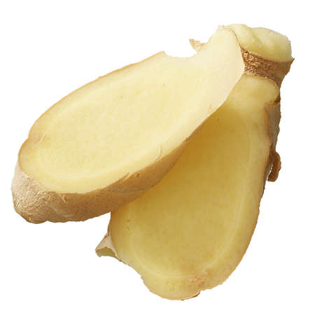 Slices of ginger isolated on a white background