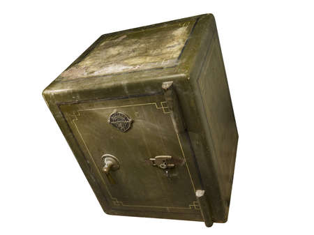 tumbling: Green old antique closed safe tumbling down