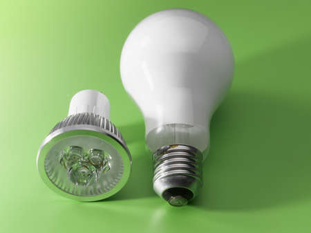 LED light next to a oldfasion light bulb in green environment photo