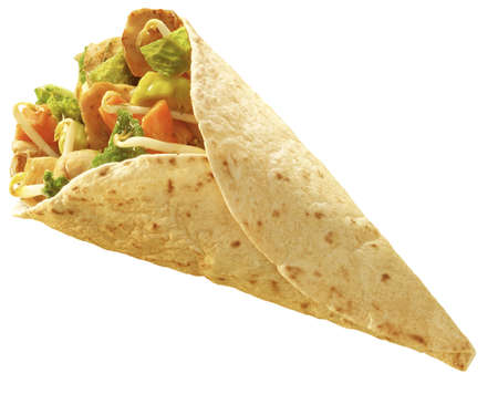 burrito: chicken and vegetables wrapped in a tortilla oriantal stile Stock Photo