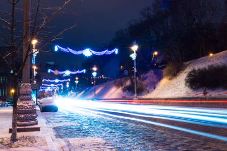 winter night road in the city