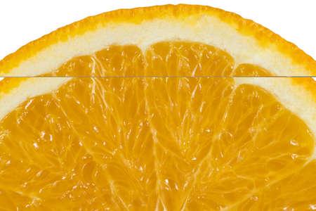 Fresh orange in a cut