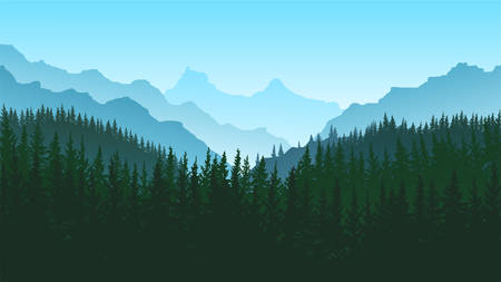 vector image of mountains in the form of silhouettes Illustration