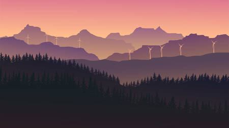 vector image of mountains in the form of silhouettes with windmills