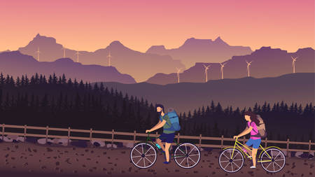 Cyclists ride a country road with mountain views in summer Illustration