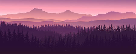 vector image of mountains in the form of silhouettes screen size