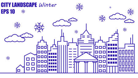 simple linear drawing of a winter city Illustration