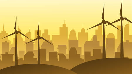 windmills on the background of the city Illustration