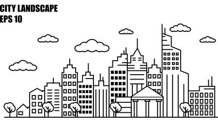 simple line drawing of a cityscape EPS-10 Illustration