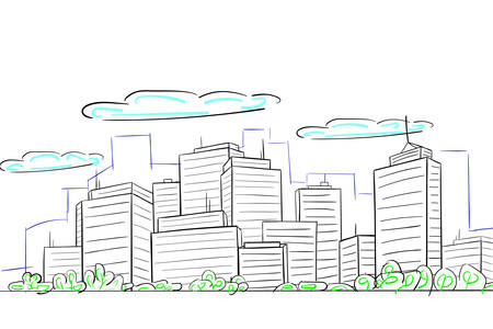 sketch of cityscape with buildings. EPS-10