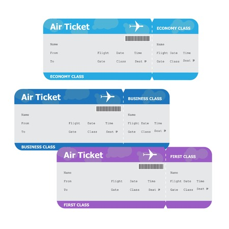 aeroplane: Three air tickets isolated on white background