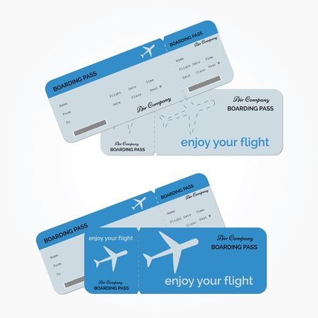 Variant of air ticket isolated on white background. Vector illustration