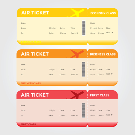 Three classes of blank flight boarding pass vector illustrations.