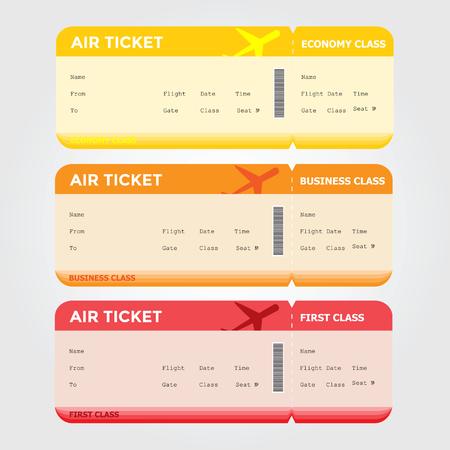 first class: Three classes of blank flight boarding pass vector illustrations.
