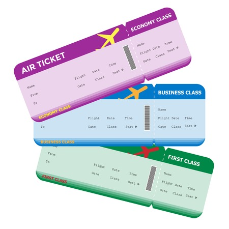 first class: Three classes of blank flight boarding pass different colors. Vector illustrations.