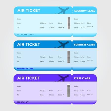 first class: Three classes of blank flight boarding pass. Vector illustrations.