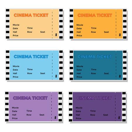 admittance: Set of colored cinema ticket. Vector illustration.