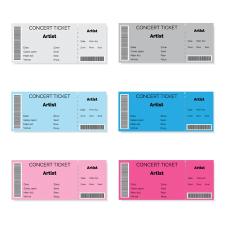 stub: Set of colorful concert tickets. Vector illustration.