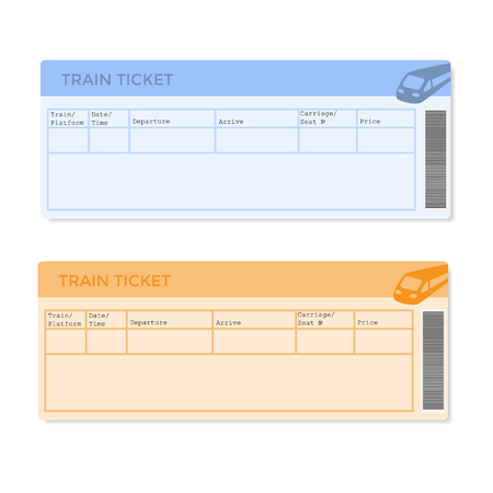 Train tickets in two versions. Vector illustration. Illustration