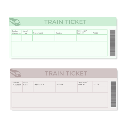 Train tickets in two versions light color. Vector illustration. Vettoriali