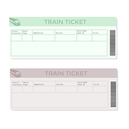 Les billets de train en deux versions couleur de la lumière. Vector illustration.
