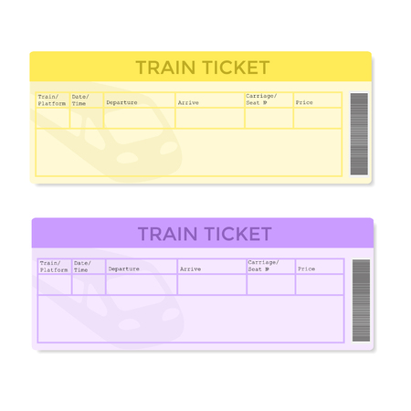 Train tickets in two color versions. Vector illustration.